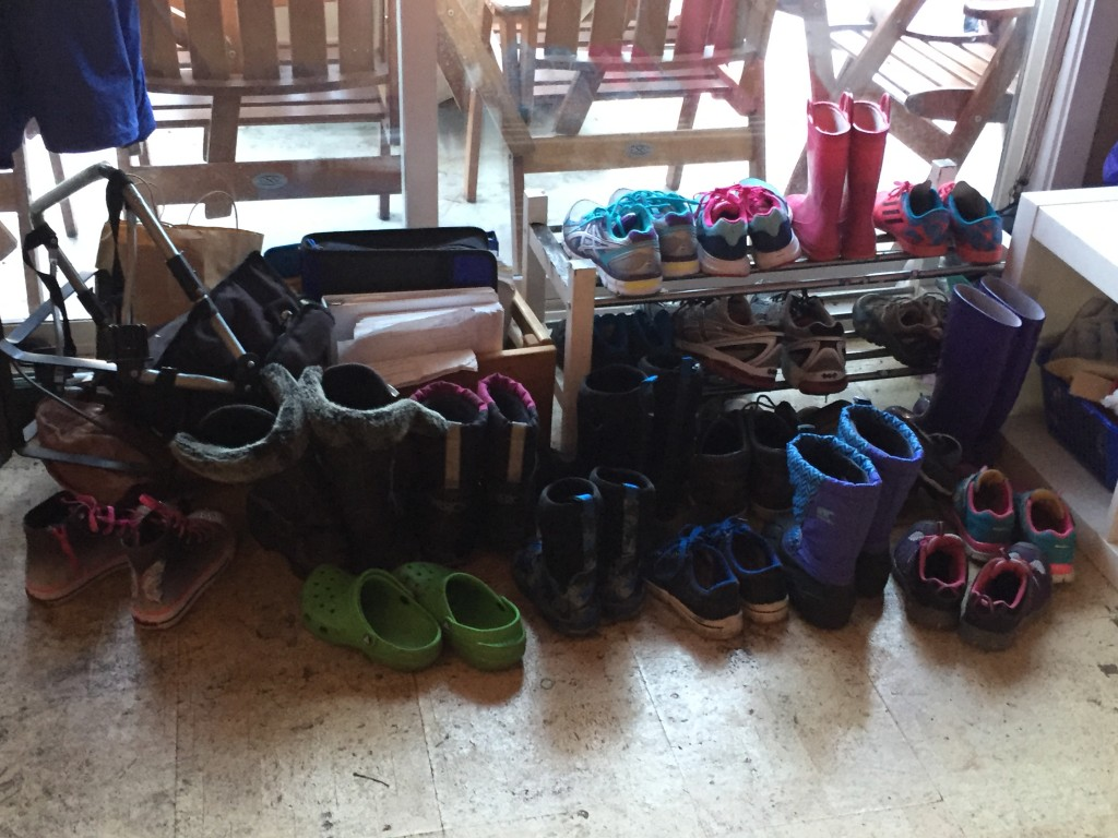 A selection of the shoes and boots that come along with this many little ones in the house!