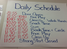 The schedule for the Strong Start Early Learning Centre at Richard McBride Elementary School.